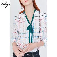 Lily2019秋新款撞色飘带V领宽松气质彩色格子雪纺衫衬衫女4947