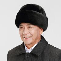 帽子男冬天中老年人爸帽老人中年棉帽秋冬保暖护耳仿貂毛帽雷锋帽