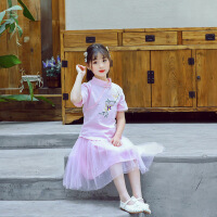 童装夏季女童时尚套装两件儿童民族风汉服短袖古风连衣裙