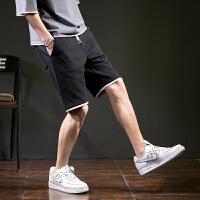 [1折价26.9元]唐狮夏季新款裤子男休闲短裤针织精神小伙黑色潮流卫裤五分裤