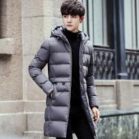 男士外套冬季新款棉衣韩版男装潮流加厚冬装中长款风衣 8819 灰色