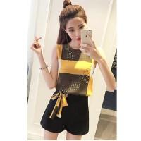 夏季时尚套装女2018韩版新款名媛气质修身雪纺衫短袖短裤两件套潮