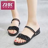 【掌柜推荐】ZHR拖鞋女厚底百搭平底凉鞋韩版一鞋两穿外穿拖鞋女鞋