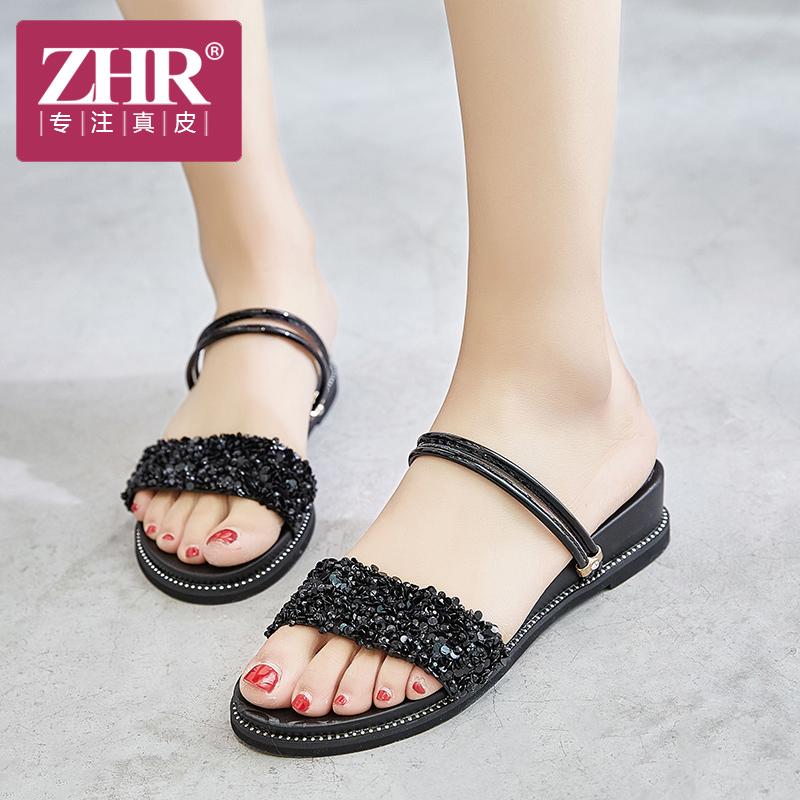 ZHR拖鞋女厚底百搭平底凉鞋韩版一鞋两穿外穿拖鞋女鞋2018夏新品