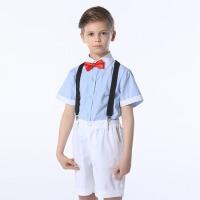 儿童礼服男女童六一合唱服 春夏学生短袖背带裤演出套装花童