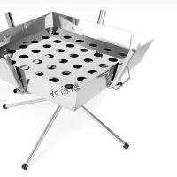 户外烧烤炉不锈钢野餐木炭烤肉架工具便携折叠5人以上家用柴火炉 银色