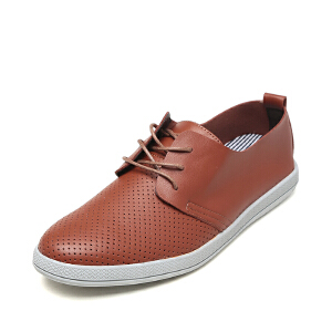 SHOEBOX/鞋柜新款圆头低跟男单鞋 系带休闲鞋皮鞋
