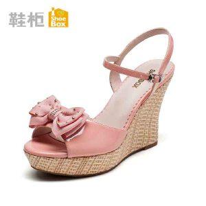 达芙妮旗下shoebox鞋柜夏鱼嘴高跟防水台凉鞋 蝴蝶结露趾坡跟女鞋