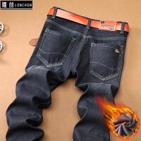 秋冬款牛仔裤男直筒弹力修身大码冬季加绒加厚保暖男装休闲长裤子