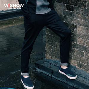 viishow秋装新款休闲长裤 男式欧美街头修身长裤 深色休闲裤 K151753