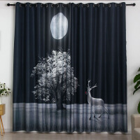 成品北欧窗黑白系帘卧室客厅阳台飘窗加厚遮光窗帘布 700-001
