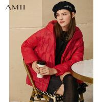 Amii时尚休闲90绒羽绒服女冬季新款拼接织带连帽轻薄小个子短外套