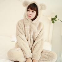 珊瑚绒睡衣冬季加厚保暖韩版女士可爱羊羔熊带帽毛绒家居服套装