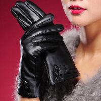 羊皮真皮手套女士冬季保暖加厚皮手套女式时尚薄款触屏