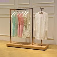 女装店货架展示架玫瑰金正侧挂落式地中岛架服装展示架