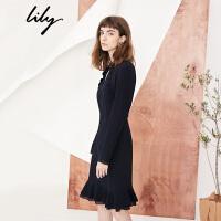 Lily2018春新款女装V领收腰显瘦连衣裙气质镂空连衣裙118110C7644