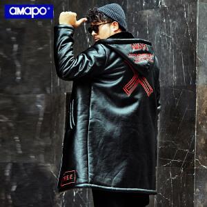 【限时抢购到手价:295元】AMAPO潮牌大码男装冬季加绒加厚保暖皮外套宽松加肥加大长款大衣
