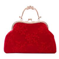 女新款包包红色结婚新娘包包蕾丝手提包单肩斜挎女包口金包