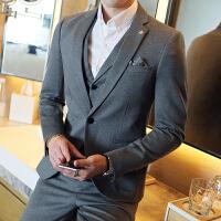 秋季西服套装男士英伦商务正装三件套青年修身小西装新郎婚礼礼服 浅灰色 48(M)两件套