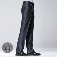 啄木鸟男士薄款高腰中老年直筒免烫宽松男裤大码西裤夏季中年长裤