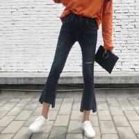 2018春装新款不规则裤子学生微喇叭裤高腰牛仔裤显瘦九分裤女裤潮