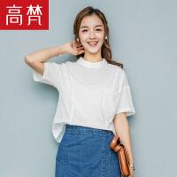 高梵2018新款衬衫 夏装女时尚休闲短袖衬衫甜美学生宽松韩版潮