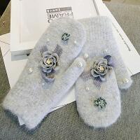 羊绒手套女冬学生韩版可爱潮连指手套加绒加厚保暖骑车防寒手套女