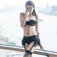 激情套装情趣性感文胸套装用品蕾丝长筒袜用品钢托聚拢内衣吊袜带 黑色