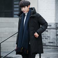 冬季男士羽绒服中长款青少年学生大码加厚外套新款连帽修身男装潮 黑色