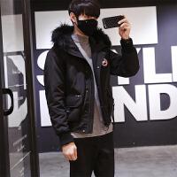 冬季短款羽绒服男士韩版潮流外套男青少年时尚连帽羽绒衣男 黑色 M