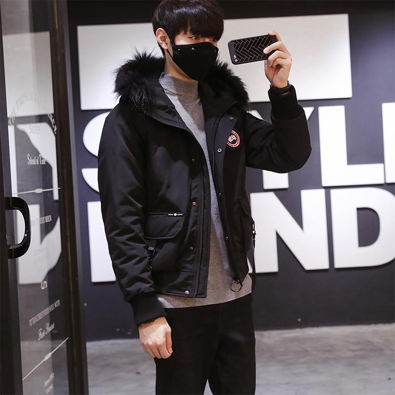 冬季短款羽绒服男士韩版潮流外套男青少年时尚连帽羽绒衣男 黑色 M 一般在付款后3-90天左右发货,具体发货时间请以与客服协商的时间为准