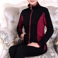 新款中老年运动套装女款春秋 妈妈装长袖开衫运动装大码棉运动服