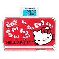 卡通精准迷你体重秤家用人体秤电子秤便携式健康口袋秤钢化玻璃称重仪生日礼物实用送女生 红色hello kitty