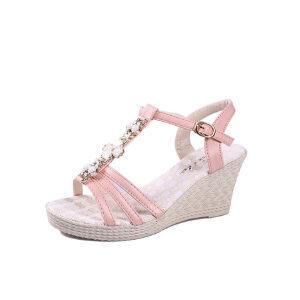 ELEISE美国艾蕾莎新品060-598韩版超纤皮坡跟女士凉鞋