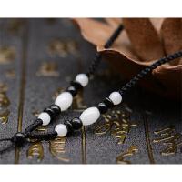 手工编织挂绳项链绳黄金翡翠玉佩吊坠绳子可调节男女 黑色白米珠款双向结