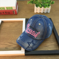 牛仔帽子女韩版潮帽青年棒球帽休闲百搭字母刺绣鸭舌帽户外遮阳帽 粉红色 牛仔五角星 可调节