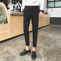 2018新款男士西裤发型师小脚裤薄款黑色西装裤时尚英伦九分裤