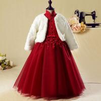 冬花童礼服女 儿童礼服 公主裙女童礼服长袖婚纱红色蓬蓬裙演出服