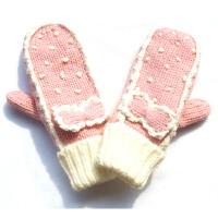 科派 韩版毛线手套冬季女加厚保暖可爱卡通粉蝴蝶结连指手套0042