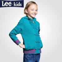 LEE童装 秋款女童长袖毛衣中大童时尚休闲有帽上衣针织衫2RW40955