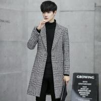 韩版青年翻领中长款毛呢大衣男装秋冬款千鸟格时尚潮流风衣外套