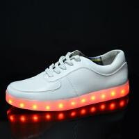 灯鞋夜光鞋发光鞋荧光鞋LED男女休闲板鞋USB充电灯光鞋 白色