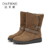 【达芙妮限时2件2折】Daphne/达芙妮 2017冬休闲棉靴绒面短靴厚底加绒圆头雪地靴女