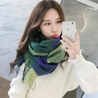 韩观围巾女冬季毛线韩版格子女针织围脖百搭秋冬保暖超长围巾披肩两用