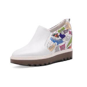 O'SHELL法国欧希尔新品153-GD1939-1欧美头层牛皮真皮内增高女士小白鞋乐福鞋