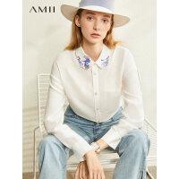 【到手价:210元】Amii极简100%亚麻浮世绘绣花衬衫2020春季新款设计感长袖上衣女