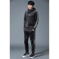 男士卫衣套装2017新款秋冬装韩版修身潮流时尚加厚加绒运动两件套 X
