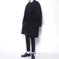 2017秋冬男士新款韩版毛呢大衣中长款羊绒外套加厚修身呢子风衣男 黑色(棉内衬) S