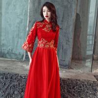 中式敬酒服新娘秋季2018长款结婚新款礼服中袖端庄大气红色中国风 中式红色