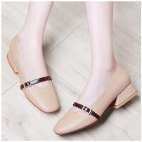 古奇天伦春季女鞋中跟粗跟一字扣奶奶鞋丑萌鞋女新款韩版百搭RTY8733
